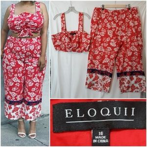 Eloquii Pants - Eloquii 2 Pc Crop Top and Pants Coordinating Set